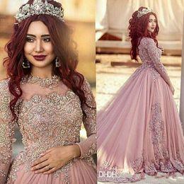 2018 robes de soirée manches longues arabe chaud robe de bal portent des robes de bal musulmanes avec perles de cristal tapis rouge piste robes de soirée sur mesure ? partir de fabricateur