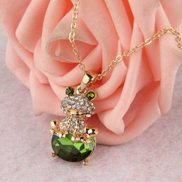 Wholesale Frog Pendant Gold - Creative Style Jewelry 14k Gold Filled Austrian Crystal Frog Pendant Unique Women's Necklace fashion 2014 Special Party Gifts