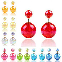 Wholesale Double End Ball - Earings for Woman Girls Double Sided Pearl Earrings Candy Colors Crystal Plated Double Faced Ball Two Ends Pearl Studs Earrings