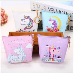 Wholesale Change Holders - Bags Unicorn Zipper Wallet PU Kids Small Cute Coin Children Women Purse Money Pouch Cactus Change Pouch Key Holder Bag DHL Free Shipping