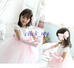 Dedos niños guantes online-Niños lindos niñas accesorios niñas dedo guantes niños perla flor bowknot mitones niños boda accesorios beige