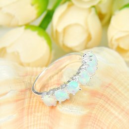 Wholesale Opal Mothers Ring - 5 Pcs 1 lot Mother Gift Full White Fire Opal Gems 925 Sterling Silver Ring Russia American Australia Weddings Ring Jewelry Gift