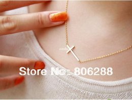 Wholesale Sideways Crosses Necklace - 2013'NEW Lady Horizontal Sideways Cross 14k Gold Plated Pendant Necklace