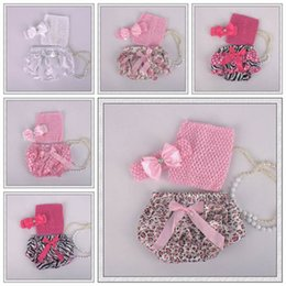 Wholesale Leopard Vest For Baby Girls - girls summer clothing sets newborn bow headbands + crochet vests tops + ruffle bloomers shorts for babies children Christmas dot leopard set