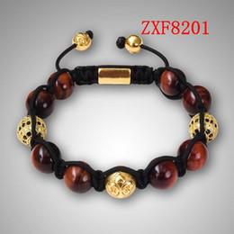 Wholesale Shamballa Bracelet White Black - Nialaya red tiger stone beads new style bracelets Factory shamballa alloy cool black and white dill men's Weave adjust bracelets ZXF8201