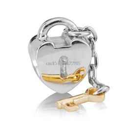 Wholesale Locking Love Bracelet Silver - Fashion Heart Shape Lock And Gold Key Design 925 Sterling Silver European Bead Charms For Best DIY Snake pandora Bracelet Bangle Jewelry