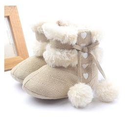 Wholesale Toddler Girl Gray Boots - Khaki Baby Girls Boots Winter Shoes Children's Snow Boot Soft Anti-Slip Toddler First Walkers Prewalker Sock