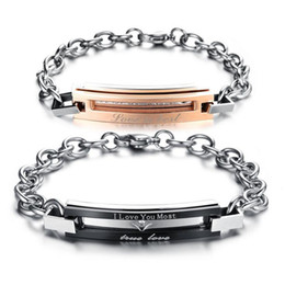 Wholesale christmas gift set ideas - Bracelets for Women Men Stainless Steel Couple Bracelet Crystal Jewelry Chain Bangles Best Idea Gifts for Couple