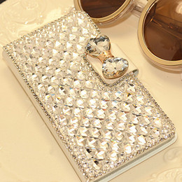 Wholesale S4 Holder Card Luxury - For iphone 6 5s 4s Samsung S5 S4 S3 NOTE4 3 2 Luxury Diamond Rhinestone Buckle Leather Flip Wallet Case Cover Credit Card Holder For 6Plus