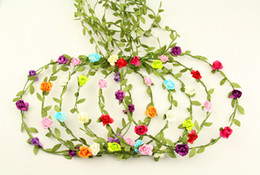 Wholesale wholesale floral fabric - 24pcs mixed colorBride Bohemian Flower Headband Festival Wedding Floral Garland Hair Band Headwear Hair Accessories for Women
