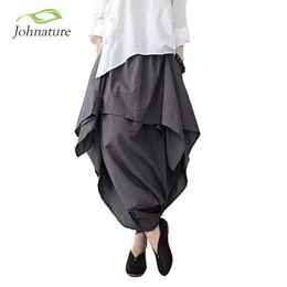 Wholesale Capris Skirt - Wholesale- Johnature 2017 New Women Wide Leg Loose Linen Cotton Asymmetric Pants Original Designer Plus Size Capris Elastc Waist Skirt