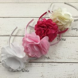 Wholesale Wholesale Vintage Hair Flowers - Layered Flower Plastic Headband Satin Mesh Flower Plastic Headband Headband For Kids Vintage Headband For Kids