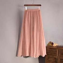 Wholesale Linen Cotton Skirts - Wholesale- 2017 Fashion Brand Women Top quality Cotton and Linen Long Skirt Elastic Waist A-line Pleated Maxi Beach Vintage Summer Skirts