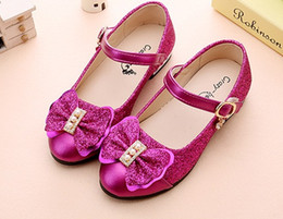 Wholesale Shoes For Dresses Girls - New 2017 Children Princess Shoes Girls Sequins Girls Wedding Party Kids Dress Shoes for Girls Pink   Rose Red  Gold School Shoes