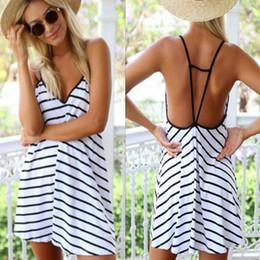 Wholesale Sexy Celeb - 2015 New Boho SEXY WOMEN BACKLESS CELEB V NECK CASUAL SUMMER BEACH MINI DRESS Party Sleeveless Dresses Stripe Dress