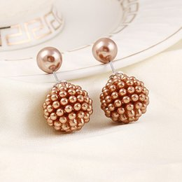 Wholesale Earring Nails - 6pairs lot Elegant Beads Design Earrings Double Side Pearl Ear Nails Girls Dating Ornaments je302