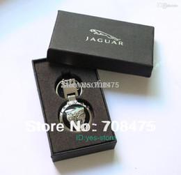 Wholesale Jaguar Key Case - Wholesale-Male Fashion Metal keychain Jaguar car key chain Pendant Ring+ Gift Case Brand New Best Presents