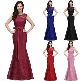 Wholesale Sexy Trumpet Wedding Dresses - 2018 Designed Burgundy Lace Evening Prom Dresses Elegant Mermaid Formal Dress Jewel Neck with Sash Wedding Guest Bridesmaids Dress CPS720