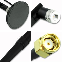 Wholesale Magnetic Base For Antenna - Wholesale-2.4G 17dbi Wireless 2.4GHz RP-SMA Wifi Antenna + Magnetic Base For PCI Modem Router EL3015