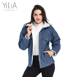 Wholesale Women Beige Coat Cashmere - Yilia Women Basic Coats Autumn Winter Women Denim Jacket 2017 Vintage Long Sleeve Loose Female Jeans Coat Casual Girls Outwear q171125