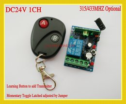 Wholesale 1ch Remotes - DC 24V 10A Relay 1CH RF wireless remote control switch system Receiver Learning Transmitter remote control 315 433 Remote A-ON B-OFF Switch