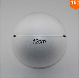 Wholesale Round Foam - Free shiping wholesale 12cm natural white styrofoam round balls Craft ball foam ball diy handmade painted ball(12pcs lot)