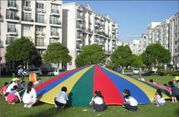 Wholesale Rainbow Parachute - 5m Child Kid Sports Development Outdoor Rainbow Umbrella Parachute Toy Jump-sack Ballute Play Parachute free shipping TY1129