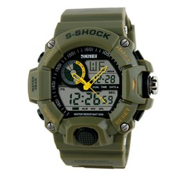 Wholesale Shark Analog Watches - Military Mens Watch Skmei Quartz SHARK ARMY 50m Waterproof Surfing Auto Date Full Steel Green Nylon Band Strap Dual Time Outdoor Sport watch