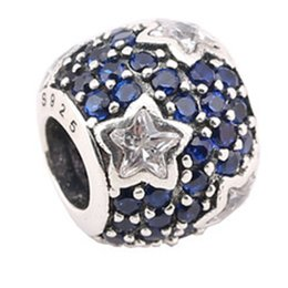 Wholesale Bracelete Charms - Big Hole Beads 925 Silver yhpdh Charms Fit Bracelete Beads Pendants For Women With Blue CZ Stone PX0018-1A