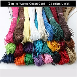 Wholesale Bracelet Bundles - DIY 24 Color Mixed Color Waxed Cotton Beading Cord Rope 1mm For Bracelet Necklace jewelry making 800 Meters lot (10 bundles )