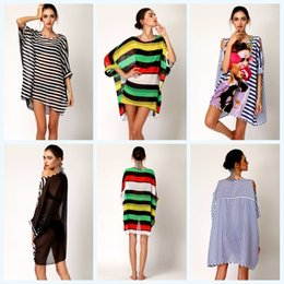 Wholesale Wholesale Sexy Dress Up - Sexy Women Streped Batwings Hollow Out Bikini Cover Up Hot Poncho Mini Dress Newest Wrap Dresses Smooth Beachwear 876 5pcs