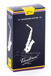 Wholesale Saxophone Reeds Wholesalers - The French Vandoren bE baritone Sax bent Delin blue box reed number 2.5
