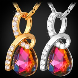 Wholesale Exquisite Stone - Women's AAA+ Cubic Zirconia Jewelry 18K Real Gold Platinum Plated Exquisite Colorful Stone Teardrop Pendant Necklace