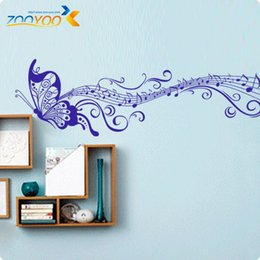 Wholesale Musical Butterfly Wall Vinyl - Musical note Butterfly art for kids rooms wall decal ZooYoo033B decorative adesivo de parede removable pvc wall sticker
