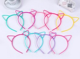 Wholesale Tiara Cat Ears - Kids Headbands Cat Ears ABS plastic with short combs multi color animal ear Headband for kid party hairwear cat ear hair band