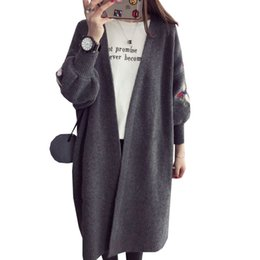 Wholesale Plus Size Sweater Poncho - Wholesale- 2017 Poncho Women Cardigans Sweater Flower Embroidery Women Sweater Long Cardigans Coat Plus Size Women Poncho Cardigans Femme