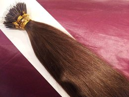 """Wholesale Nano Ring 1g Hair Extensions - DHL Free shipping 100% indian human queen hair products 5A 16""""- 26"""" 1g s 100s set stick tip nano ring hair extensions 4#medium brown"""