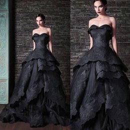 Wholesale Wedding Dress Simple Tied - New Gothic Black Wedding Dresses Vintage Sweetheart Ruffles Lace Tulle Ball Gown Sweep Train Tie up Back Bridal Gowns Custom lace wedding