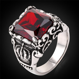 Wholesale Costume Couple - MGC Unisex Punk Rap Costume Square Couple Band Ring 2015 Fashion New Stainless Steel Jewelry For Women Men Red Austrian Crystal GR811