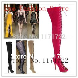 Wholesale Big Booty - Wholesale-2015 New color red rose sexy thigh high boots lace up gladiator sandal boots women over the knee high heel booty big size 44  45