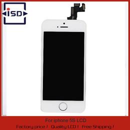 Caméra frontale iphone blanc en Ligne-Gros-100% Tested White pour iphone 5s affichage lcd avec écran tactile digitizer assemblage complet + bouton home + caméra frontale, livraison gratuite