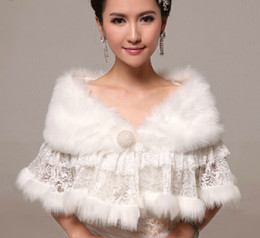 Wholesale Winter Wedding Shawls For Bridesmaids - Wholesale Lace Faux Fur Woman Shawl Cape Stole with Pearl Button Bridal Wraps Winter Wedding Bridal Shrug Wrap Cape For Bride Bridesmaid