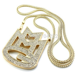 """Wholesale Mmg Chain - new ICED out MAYBACH MUSIC GROUP MMG Pendant & 36""""Franco chain maxi necklace hip hop necklace EMEN'S chokers necklace jewelry"""