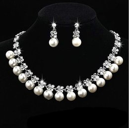Wholesale New Fashion Jewellery - Fashion Jewellery Pearl Necklace Earring Set Bride Wedding Jewelry Sets Brand New Good Quality Free Shipping