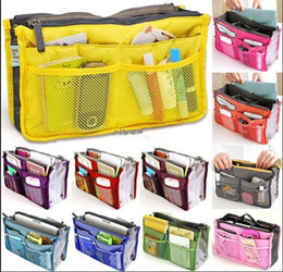 Wholesale Travel Insert Pockets - 2016 Bag in Bag Dual Women Travel Insert Multi-function Handbag Purse Pocket Organizer Bag Storage Zipper makeup bags good quality