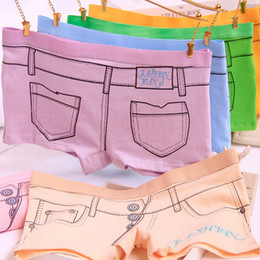 Wholesale Cartoon Women S Panties - Wholesale-2015 New Arrival Jeans Look Fake Pocket 3D Denim Printing 100% Cotton Underwear Pants Cartoon Sexy Products Lady Women Panties