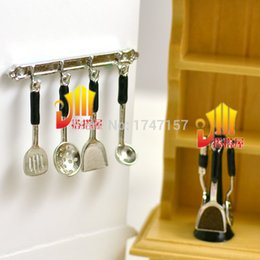 Wholesale Toy Kitchen Utensils Wholesale - Wholesale-1:12 Dollhouse Miniature Kitchenware Kitchen Utensil Stand Hanging Cooking Utensils Set for Re-ment Accessories Toys