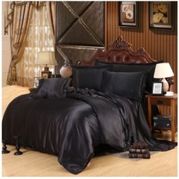 Wholesale Silk Sheets Double - Silk satin bedding set california king size queen full twin black sheets fitted duvet cover bedspread double bed in a bag 6pcs
