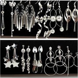 Wholesale Long Earring For Ears - Silver Jewelry Multistyle Many Designs Geometric Long Tassel Dangles Drop Earrings Wholesale Ear Hook Hoop For Women Mixed Order Free Ship