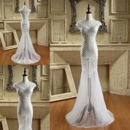 Wholesale Short Prom Dresses Tull - Major Beading Mermaid Long Prom Dresses with Sheer Tull Sequins Real Picture 100% V Neck See Through Party Evening Gowns